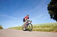 Man road cycling, Bergisches Land, North Rhine_Westphalia, Germany