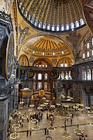 Interior view of the Hagia Sophia, Istanbul, Turkey, Europe