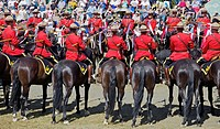 RCMP officers in scarlet jackets riding their horses in a routine during their musical ride event