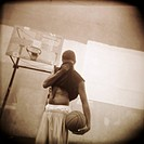 Basketball Player Wiping His Face
