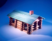 Log cabin made out of Lincoln Logs