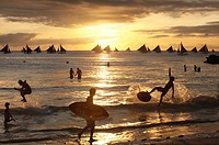 People at sunset, Boracay, Panay Island, Visayas, Philippines