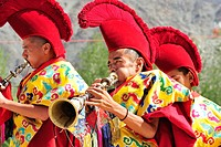 Monks playing wind instruments, monastery festival, Phyang, Leh, valley of Indus, Ladakh, Jammu and Kashmir, India