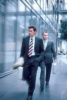 Executives walking to work