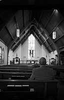 Man Sitting Alone in Church, Rear View