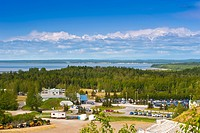 View overlooking the Kincaid Park Chalet and Cook Inlet, Anchorage, Southcentral Alaska, Summer