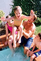 Family fun in the pool