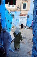 Street, Chechaouen Rif region, Morocco.