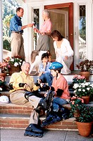 Family Gathered on Porch
