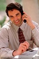 Happy executive