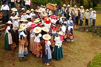 Workers wearing traditional garments in Porto Formoso tea gardens  Sao Miguel, Azores islands, Portugal