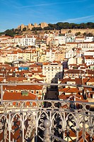 Overlooking Lisbon from Elevator de Santa Justa, Lisbon, Portugal, Europe