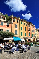 People sat outside a café in Portofino, Liguria, Italy , Europe