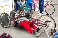 Paris, FRANCE - French Handicapped Children in Physical Education Class, using Handicapped Equipment, Bicycle