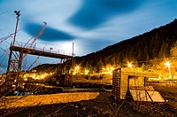 Abandoned, british columbia, canada, disused, industrial, night, sawmill, site, street lights, tahsis, vancouver island, horizontal
