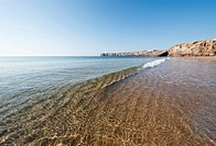 Portugal, Algarve, Sagres, View of beach with reflection