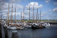 Netherlands, Sail boats moored at dockside