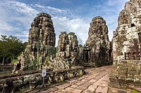 The Bayon Khmer: Prasat Bayon is a well-known and richly decorated Khmer temple at Angkor in Cambodia, Built in the late 12th century or early 13th ce...