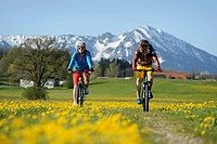 Cyclists on electric bicycles near Erlstaett, Chiemgau region, Upper Bavaria, Bavaria, Germany, Europe