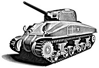 Detailed vectorial image of American Tank _ M4 Sherman _ basic unit of American land forces in World War II