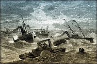 Historical scene, US-American history, 19th century, war ships in heavy seas, Burnside North Carolina expedition, a series of battles on the coast of ...