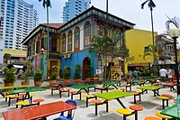 Fast food restaurant, colourful house, colourful tables and chairs at front, Art Circle, Little India neighbourhood of Singapore, Southeast Asia, Asia