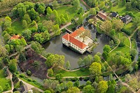 Aerial view, Struenkede castle, moated castle, with a Baroque garden, Herne, Ruhr area, Germany, Europe