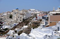 Buildings with a view, Fira, Santorini, Greece, Europe, PublicGround