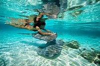 woman swimming with stingrays underwater