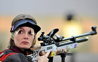 Czech Republic´s Katerina Emmons during the women´s 10_meter air rifle final at the 2012 Summer Olympics, Saturday, July 28, 2012, in London, Britain ...