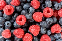 Detail of blueberries and raspberries