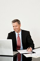 Smiling manager using laptop at desk