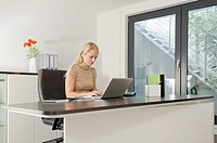 Businesswoman using laptop at desk (thumbnail)