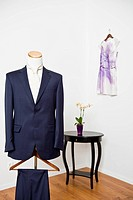 Elegant suit in a tailor studio