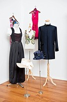 Garments on dressmaker's models
