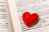 Red heart in a dictionary (thumbnail)