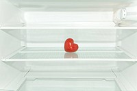 Red heart in refrigerator