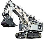 Detailed vectorial image of large white excavator, isolated on white background. Contains gradients and blends