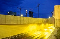 Construction site and traffic on highway at night, Vienna, Austria