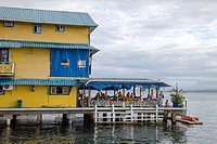 Restaurant over the sea in Bocas Town on Isla Colon, Bocas del Toro, Panama