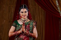 Portrait of an attractive bride greeting