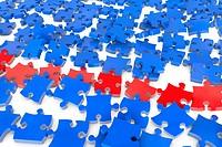 Viele fliegende blaue und rote Puzzleteile in 3D