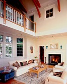 Traditional living room with high ceiling