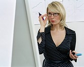 Businesswoman Looking at Flip Chart