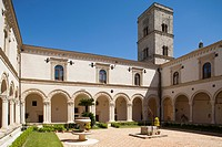 cloister, benedictine abbey of st. michael the archangel, montescaglioso, balislicata, italy