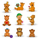 Set toy teddy bears