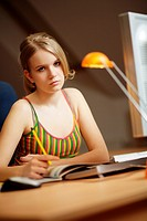 Girl, teen learn listless at home for the school