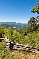 Wooden split rail fence at scenic overlook in rural North Carolina