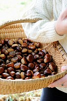 A woman carrying a basket of chestnuts