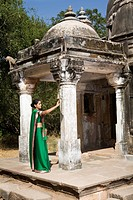 Young Woman Visiting Temple